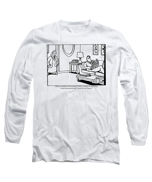 A Wife Stands In A Doorway Addressing Her Husband Long Sleeve T-Shirt