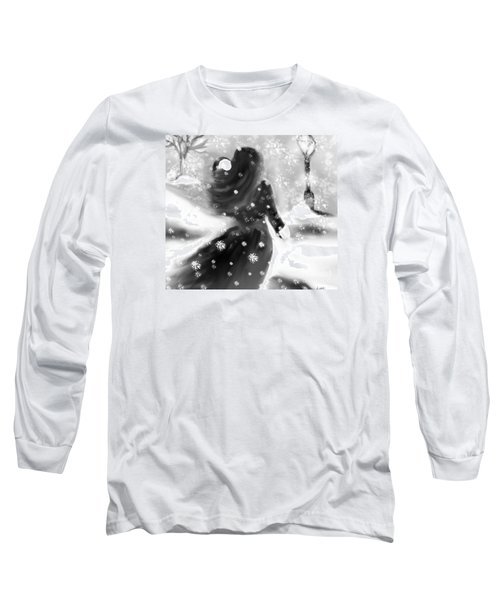 Long Sleeve T-Shirt featuring the drawing A Winters Walk by Lori  Lovetere