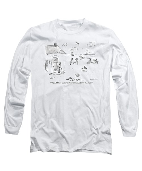 A Woman Bends Down To Pick Up The Newspaper Long Sleeve T-Shirt