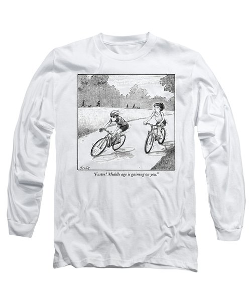 A Woman Casually Riding A Bicycle Addresses A Man Long Sleeve T-Shirt