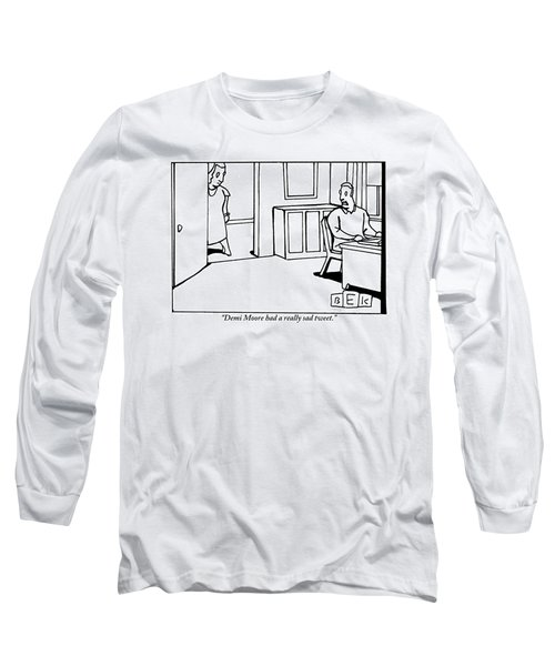 A Woman In A Doorway Addresses A Man At His Desk Long Sleeve T-Shirt