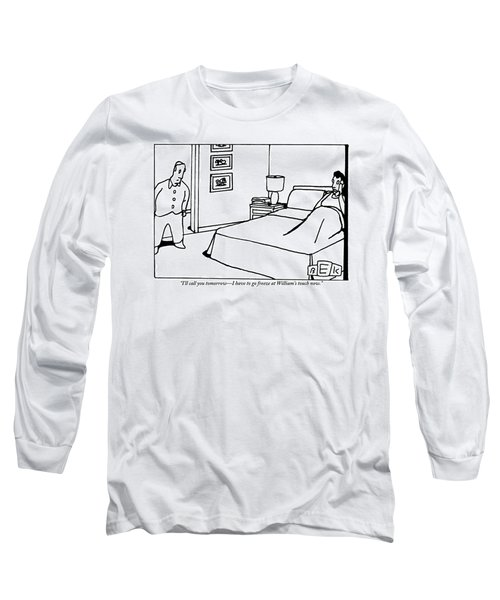 A Woman In Bed Talks On The Phone. Her Husband Long Sleeve T-Shirt