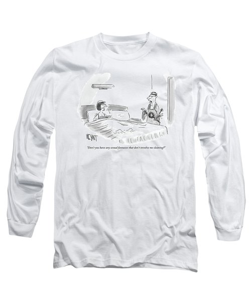 A Woman Is Sitting Up In Bed And Her Husband Long Sleeve T-Shirt