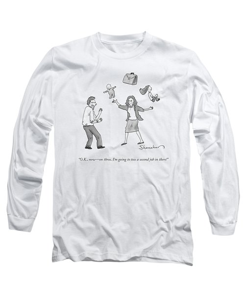 A Woman Juggles Two Children And A Briefcase Long Sleeve T-Shirt
