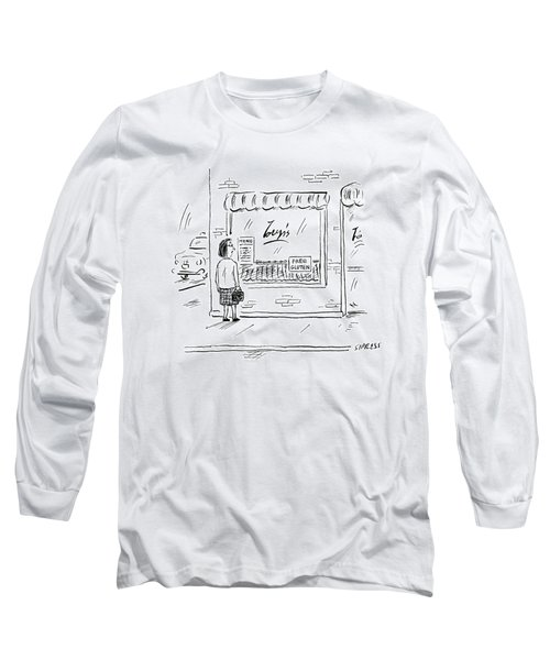 A Woman Looks Into A Restaurant Window That Long Sleeve T-Shirt