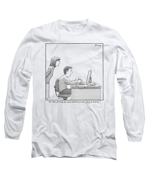 A Woman Looks Over Her Husband's Shoulder Long Sleeve T-Shirt