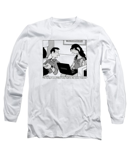 A Woman On A Laptop Is Seen Sitting And Speaking Long Sleeve T-Shirt