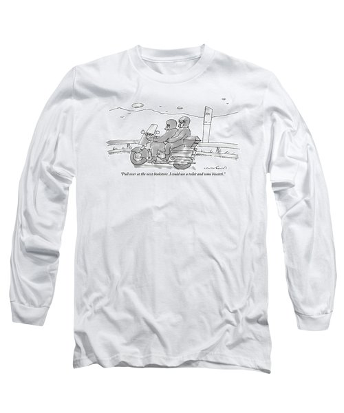 A Woman On The Back Of A Motorcycle Talks Long Sleeve T-Shirt