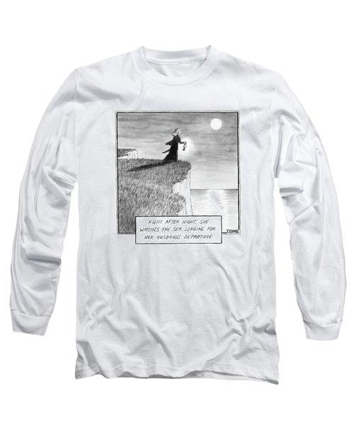 A Woman Runs In The Dark Toward A Cliff Long Sleeve T-Shirt