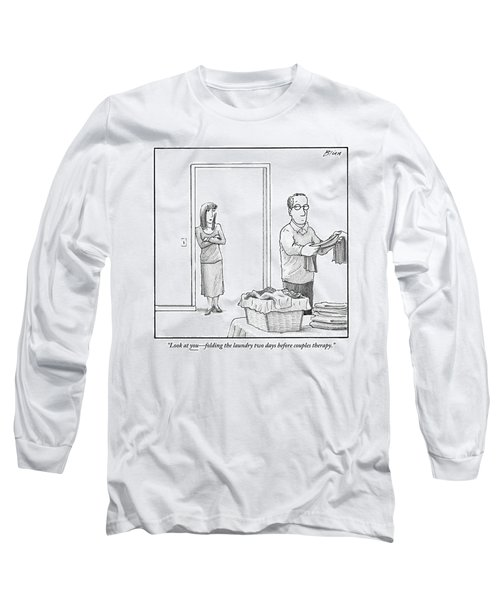 A Woman Stands In The Doorway Talking Long Sleeve T-Shirt