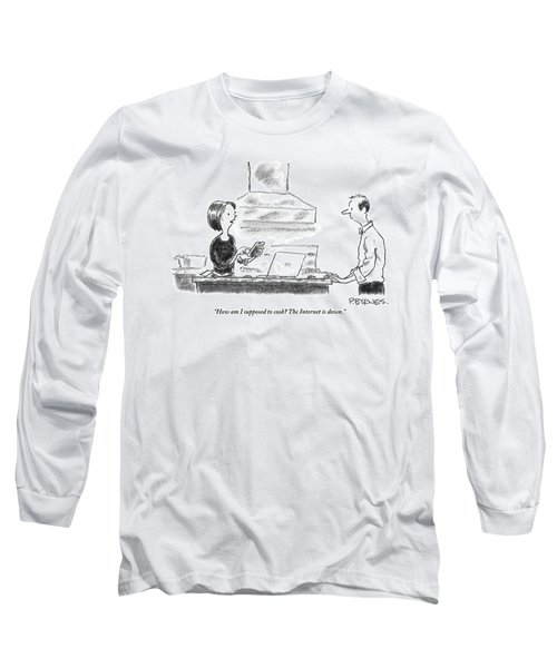 A Woman Stands In The Kitchen Helplessly Long Sleeve T-Shirt