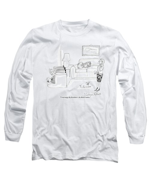 A Woman Talking On The Phone While Her Husband Long Sleeve T-Shirt