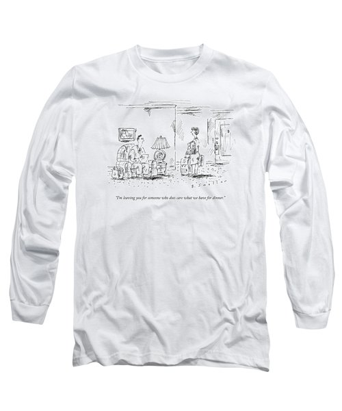 A Woman With Luggage Confronts Her Husband Long Sleeve T-Shirt