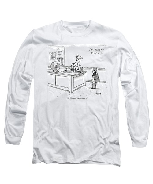 A Young Boy Speaks To His Teacher In A Classroom Long Sleeve T-Shirt