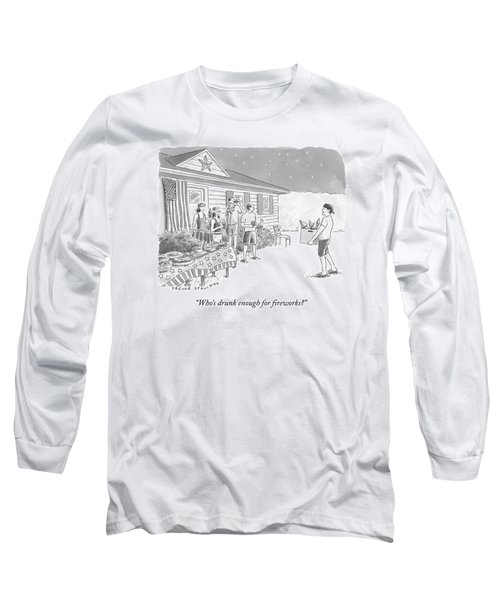 A Young  Man Carries A Box Of Fireworks Long Sleeve T-Shirt