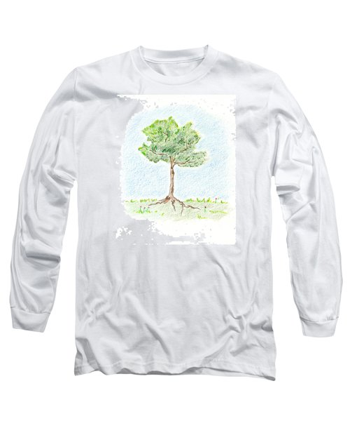 Long Sleeve T-Shirt featuring the drawing A Young Tree by Keiko Katsuta