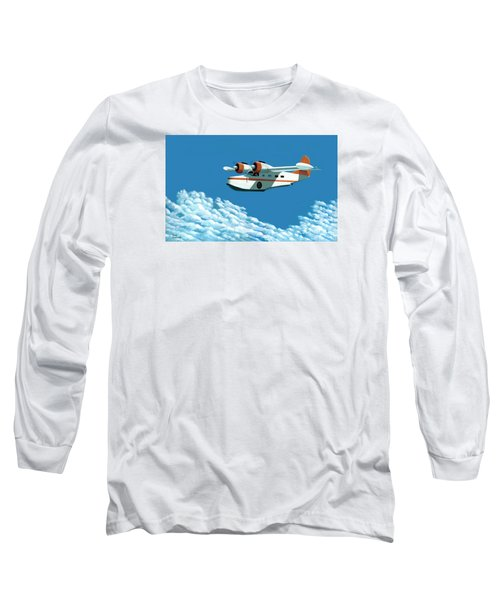 Long Sleeve T-Shirt featuring the painting Above It All  The Grumman Goose by Gary Giacomelli