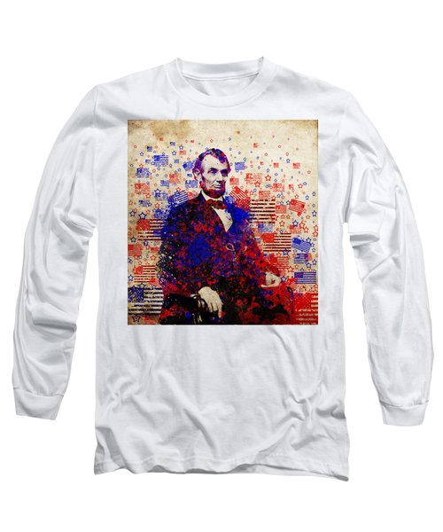 Abraham Lincoln With Flags Long Sleeve T-Shirt by Bekim Art