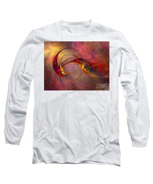 Abstract Art Print Hummingbird Long Sleeve T-Shirt by Karin Kuhlmann