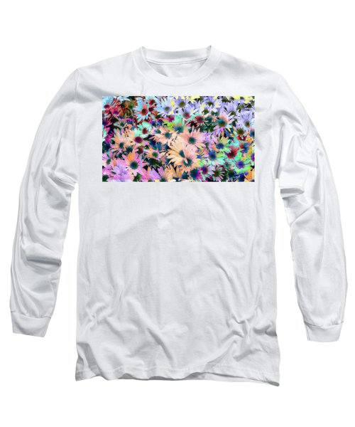 Abstract Colored Flowers Long Sleeve T-Shirt by Susan Stone