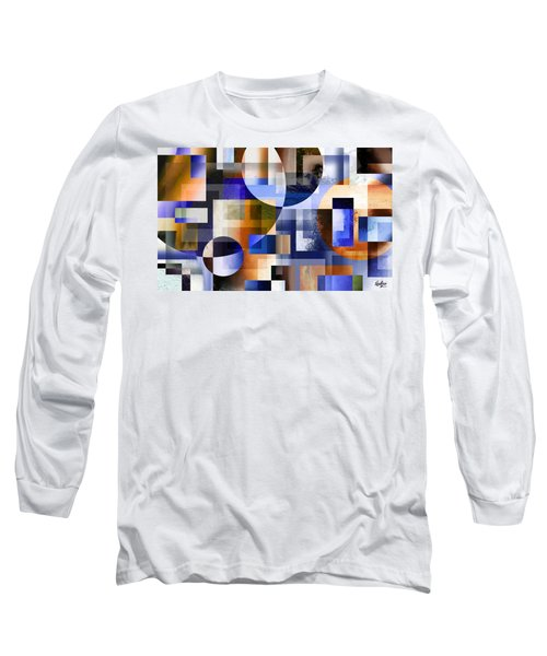 Long Sleeve T-Shirt featuring the painting Abstract In Blue by Curtiss Shaffer