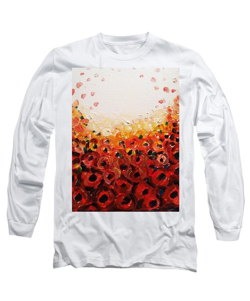 Abstract Poppies 2 Long Sleeve T-Shirt by Hae Kim