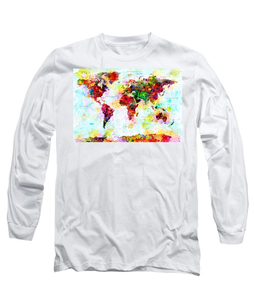 Abstract World Map Long Sleeve T-Shirt