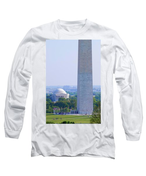 Aerial View Of Washington Monument Long Sleeve T-Shirt