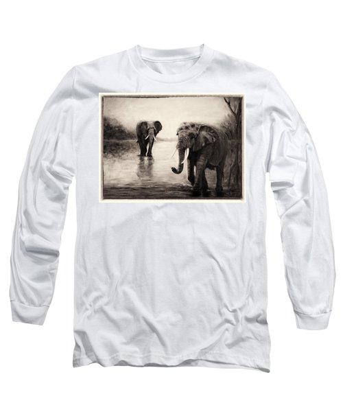 African Elephants At Sunset Long Sleeve T-Shirt