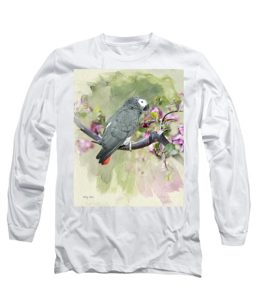 African Gray Among The Blossoms Long Sleeve T-Shirt