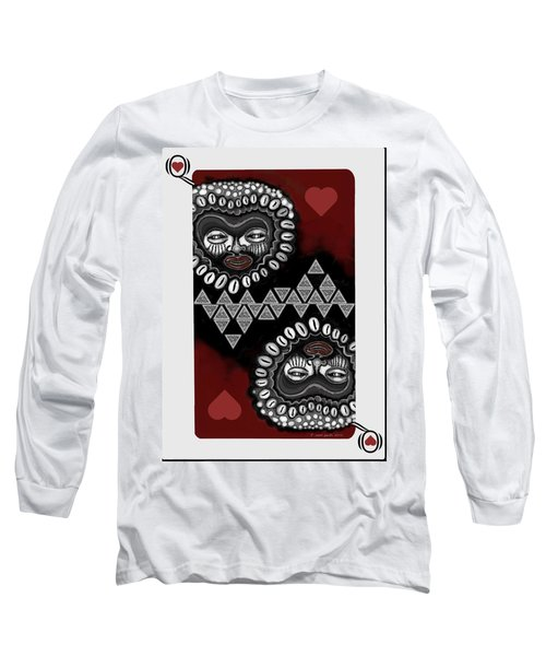 Long Sleeve T-Shirt featuring the painting African Queen-of-hearts Card by Carol Jacobs