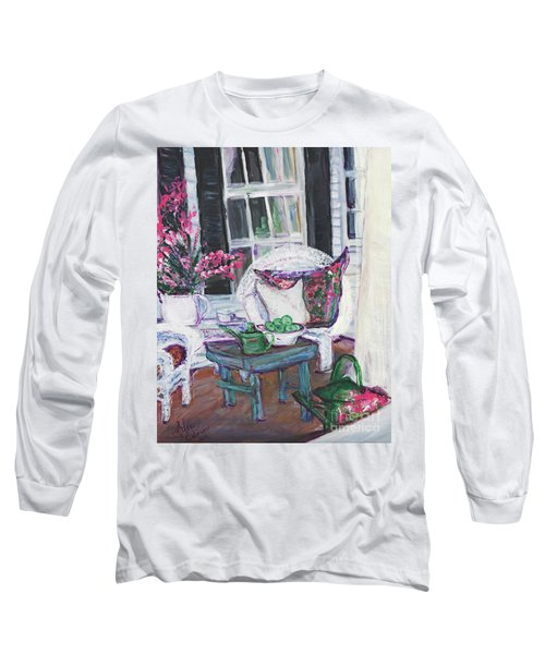 Afternoon At Emmaline's Front Porch Long Sleeve T-Shirt by Helena Bebirian