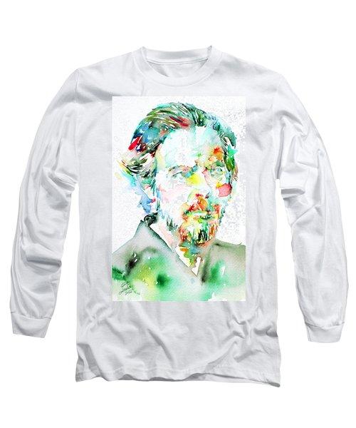 Alan Watts Watercolor Portrait Long Sleeve T-Shirt by Fabrizio Cassetta