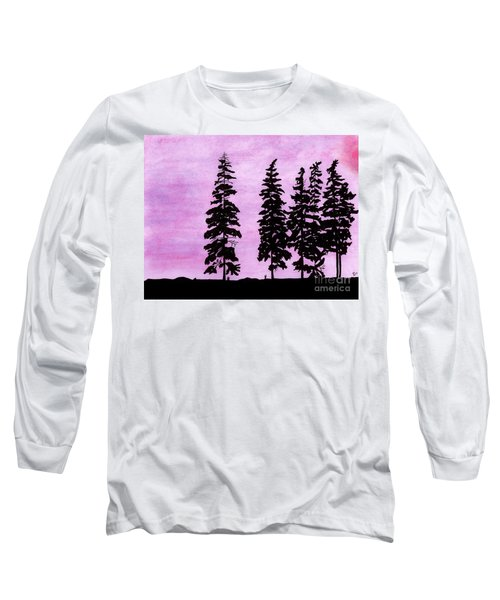 Long Sleeve T-Shirt featuring the drawing Colorful - Alaska - Sunset by D Hackett