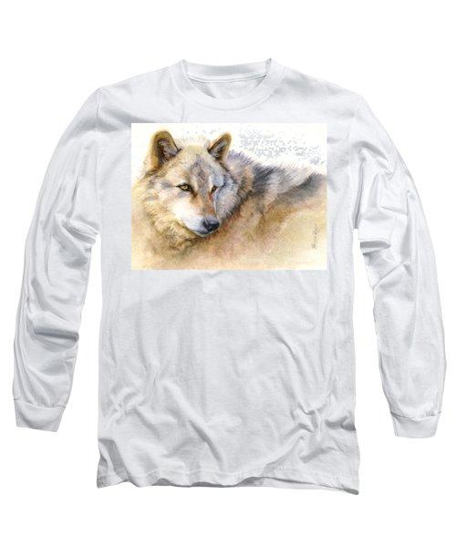 Alaskan Gray Wolf Long Sleeve T-Shirt by Bonnie Rinier