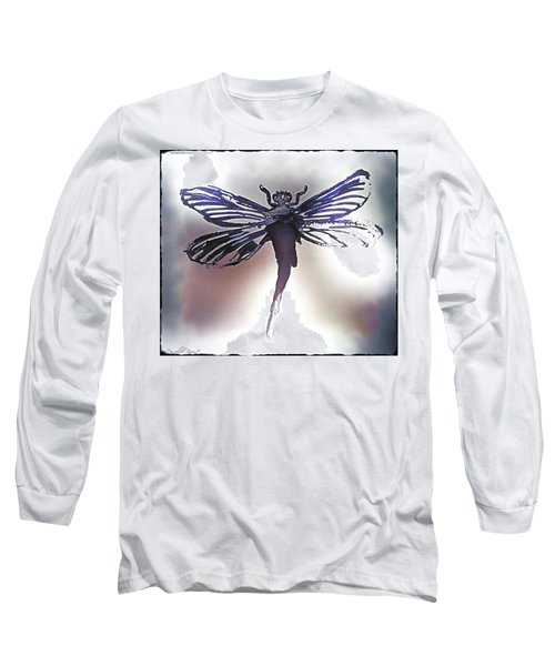 Alcohol Inks Purple Dragonfly Long Sleeve T-Shirt by Danielle  Parent