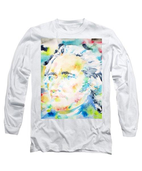Alexander Hamilton - Watercolor Portrait Long Sleeve T-Shirt by Fabrizio Cassetta