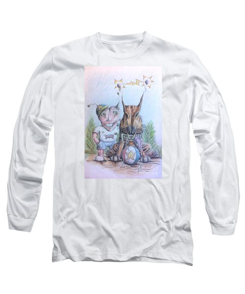 Alien Boy And His Best Friend Long Sleeve T-Shirt by R Muirhead Art