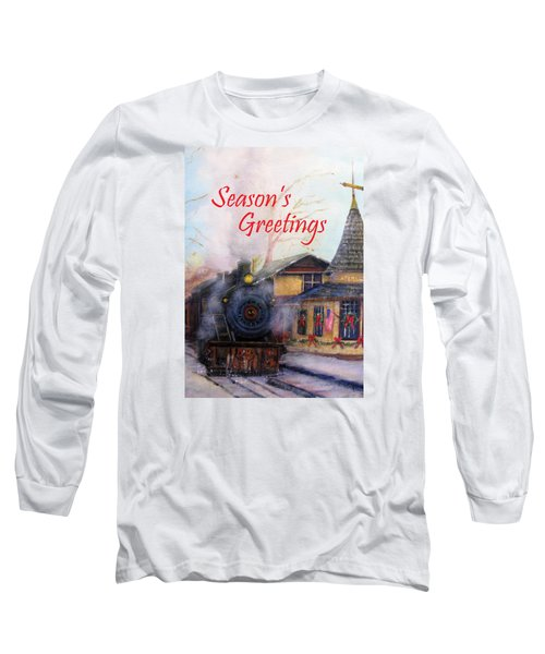 All Aboard At The New Hope Train Station Card Long Sleeve T-Shirt by Loretta Luglio