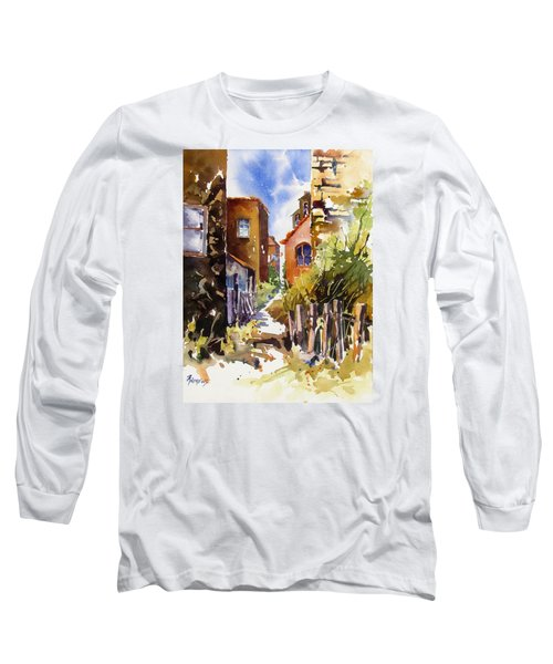 Long Sleeve T-Shirt featuring the painting Alleyway Charm 2 by Rae Andrews