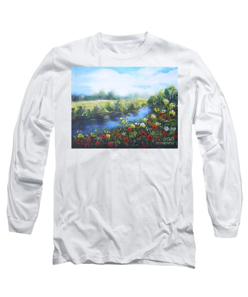 Long Sleeve T-Shirt featuring the painting Along The Poppy Valley by Vesna Martinjak