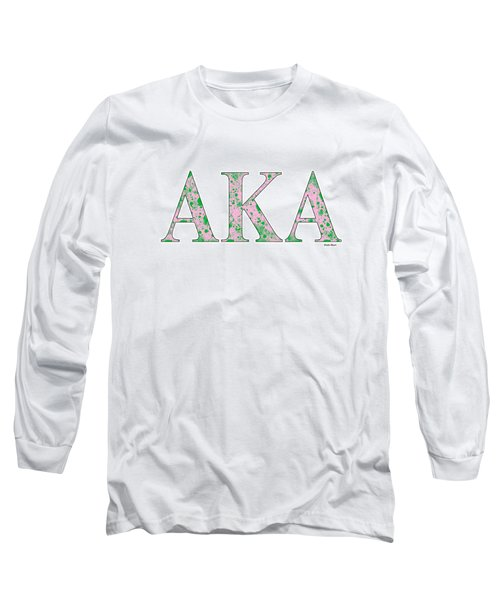 Long Sleeve T-Shirt featuring the digital art Alpha Kappa Alpha - White by Stephen Younts