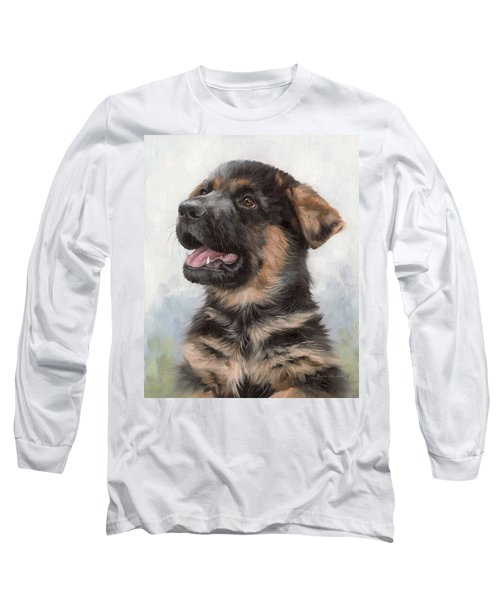 Alsatian Puppy Painting Long Sleeve T-Shirt