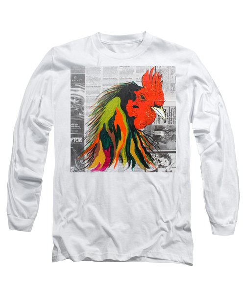 Long Sleeve T-Shirt featuring the painting Amadeo The Tuscan Rooster by Janice Rae Pariza