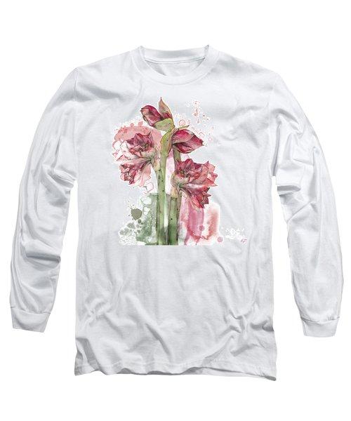 Long Sleeve T-Shirt featuring the painting Amaryllis Flowers - 3. - Elena Yakubovich by Elena Yakubovich