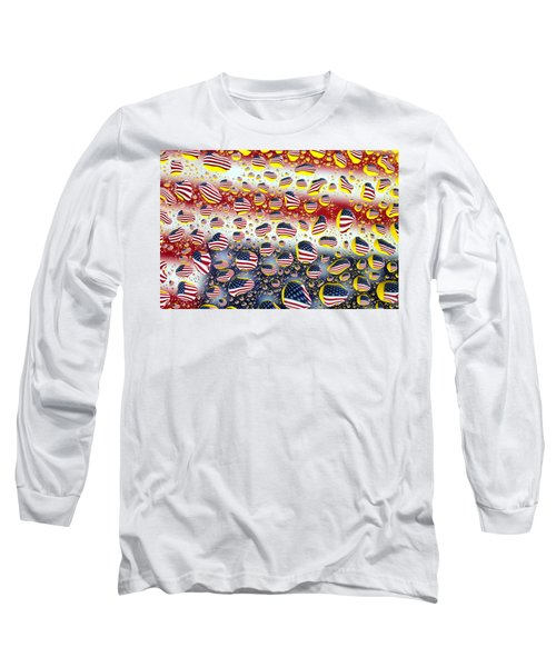 American Flag In Water Drops Long Sleeve T-Shirt by Paul Ge