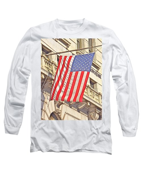 Long Sleeve T-Shirt featuring the photograph American Flag N.y.c 1 by Joan Reese