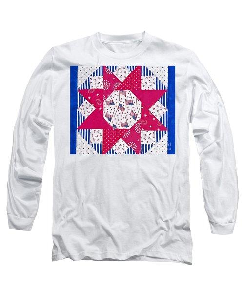 Americana Quilt Block Design Art Prints Long Sleeve T-Shirt