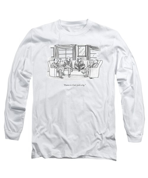 Among Three Other Men With Their Legs Crossed Long Sleeve T-Shirt