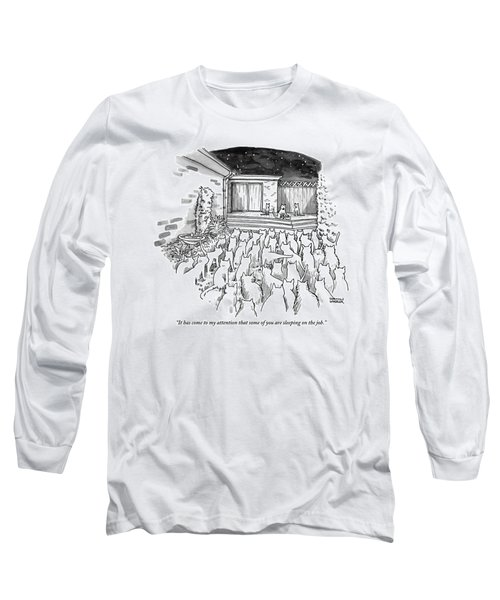 An Assembly Of Cats In A Backyard Led By Three Long Sleeve T-Shirt